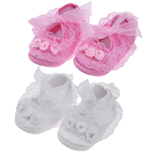 Spring Baby Girls Toddler Shoes Soft Anti-Slip Flower Lace First Walkers