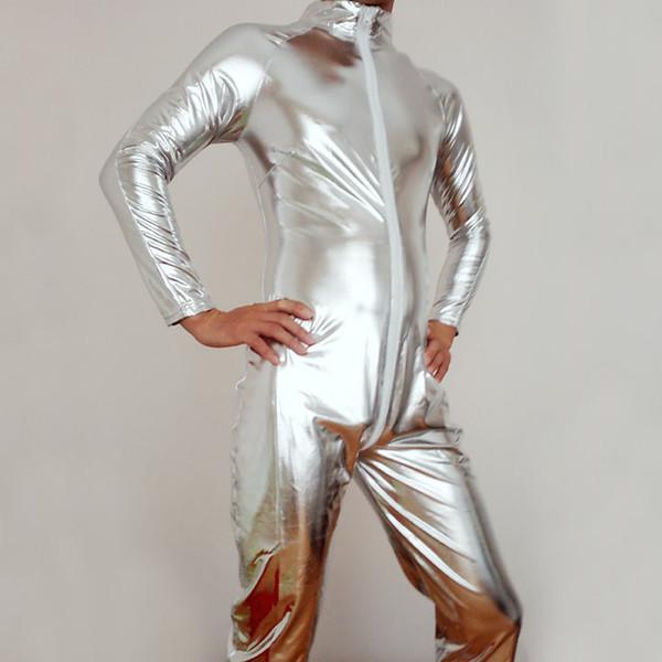 Yetişkin Erkek Faux Deri Metalik Gümüş Parlak Cilt Cosplay Kostüm Cadılar Bayramı Takım Elbise Bodysuit Unitard leotard Seksi Iç Çamaşırı