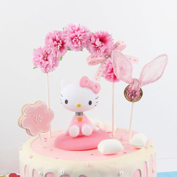 beautiful flower bowknot arch cake topper birthday cake decoration baby shower kids birthday party wedding favor supplies