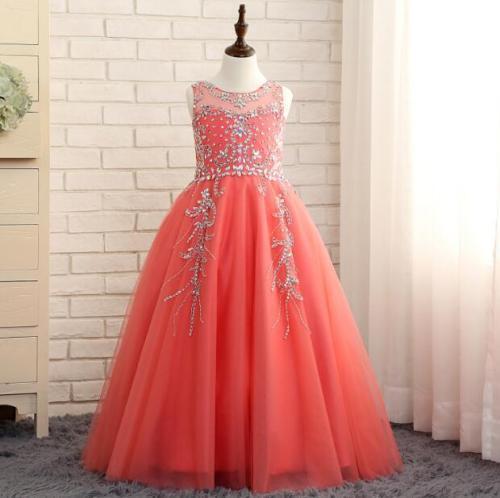 Pink Tutu Toddler Infant Flower Girls Dresses 2018 Sparkly Rose Gold Sequins Little Princess First Communion Wedding Party Dress