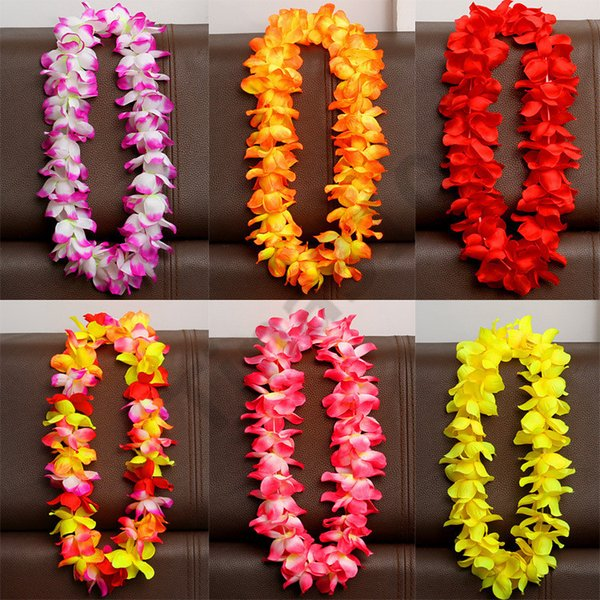 Artificial Flowers Wreath Party Decoration Hawaiian Wreath Wedding Birthday Christmas Supplies Hula Garland Flower Necklace 500pcs T1I983