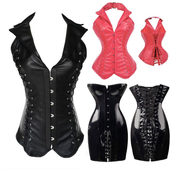 Hot Sexy Women/girl's Fashion Noble PU/PVC Leather Gothic Steampunk Corset Steel Boned Overbust Party Basques Black/Red S-XXL