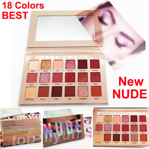 Makeup beauty eye hadow new nude eye hadow palette 18 color himmer and matte eye hadow co metic dhl hipping