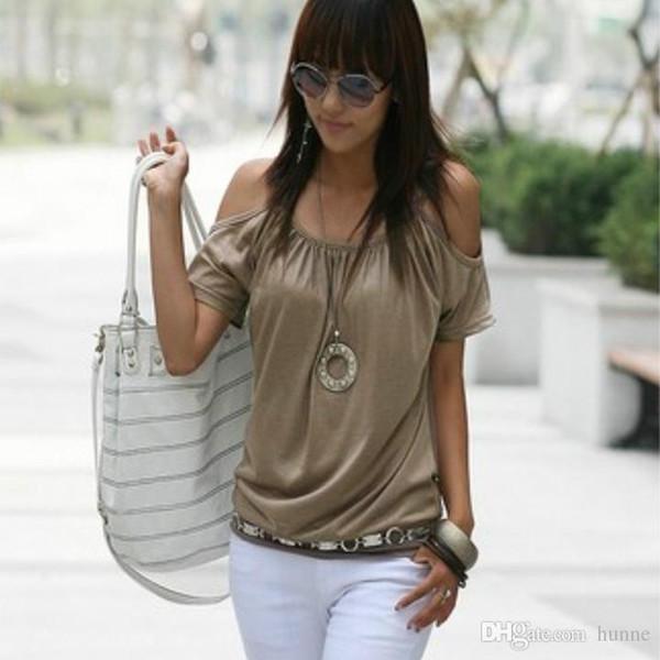 Wholesale-Women Casual Off-shoulder Tops T-shirt Summer O-neck Hollow-out Short Batwing Sleeve Tee Shirt Femme Camisa