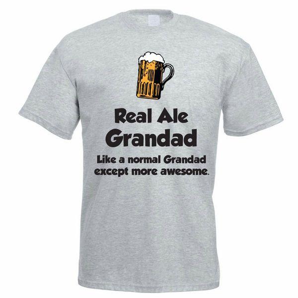 Komik Bira İçme T-shirt-Gerçek Ale Grandad-babalar Günü Hediye / Şaka Baba 2018 Yeni Moda T Gömlek Erkekler Pamuk