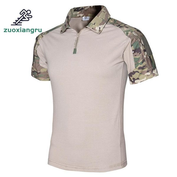 d44cc503c New Summer Camouflage Tactical T Shirt For Men Outdoor Hunting Turn-down  Collar Short Sleeve T-shirts Coolmax T Shirts Men