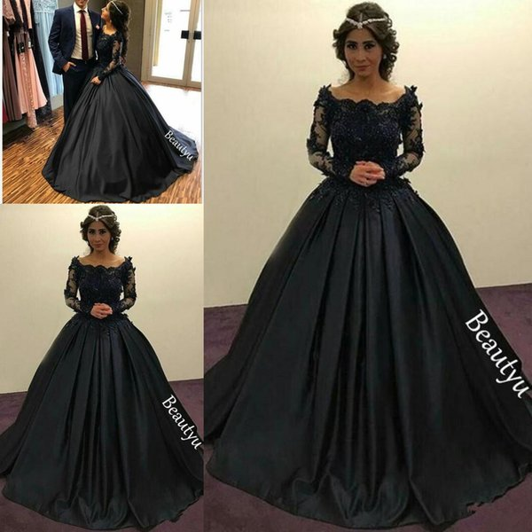 Graceful Black Princess Evening Dresses Long Sleeves Sheer Lace Beaded Appliques Scoop Ruched Ball Gown Party Gowns Formal Prom Dress