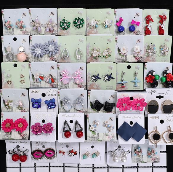 Mode bijoux mix 20 style 20Pairs / lot 18 K délicat cristal boucles d'oreilles perle tissu fleur gemme Dangle boucles d'oreilles Fit fille Madame