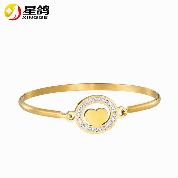 OL Style Cubic Zirconia Round Fashion Heart Charm Bracelets & Bangles Gold Color Crystal Jewelry Gift For Women