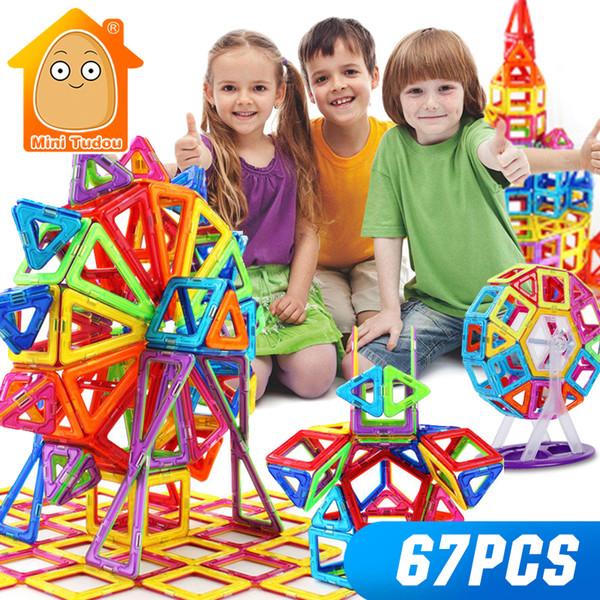 Minitudou Mini 67PCS Magnetic Constructor Designer Toys For Boys Girls Building Blocks 3D Educational DIY Bricks For Children