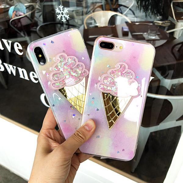 Shining 3D Ice Cream Glitter love heart Powder Phone Case For iPhone 6 6S 7 8 Plus X Cute Gradient Soft TPU Phone Back Cover