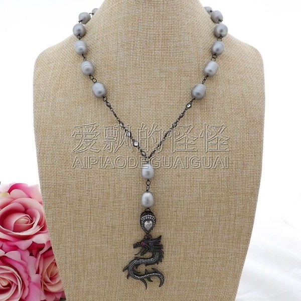 """N093002 20"""" Gray Rice Pearl Cz Chain Necklace Dragon Pendant"""