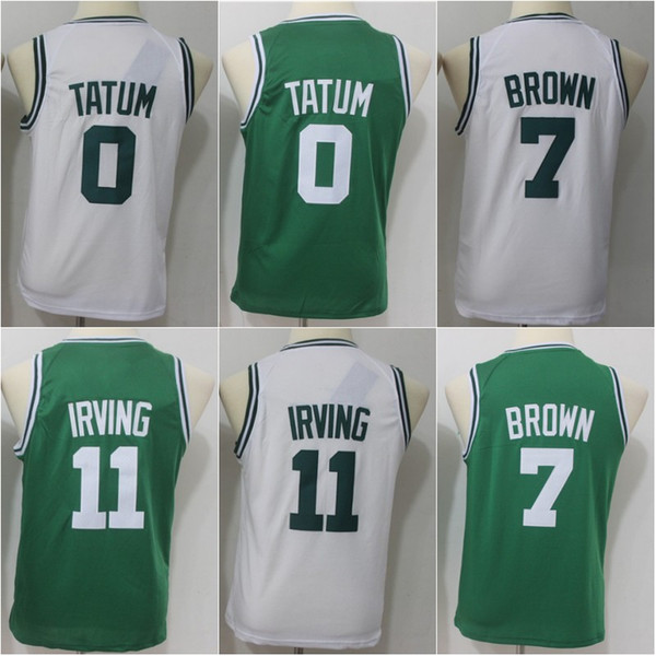 info for ba4ca a3491 2018 Youth 0 Jayson Tatum 7 Jaylen Brown 11 Kyrie Irving Jerseys High  Quality Kids White Green Basketball Jerseys From Tracycurry, $15.38 |  Dhgate.Com