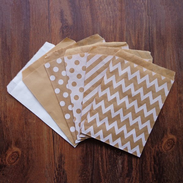 Gift Bags & Wrapping Supplies 25pcs Kraft White Party Favor Paper Bags Chevron Striped Dots Paper Craft Bag for Wedding Favor Candy