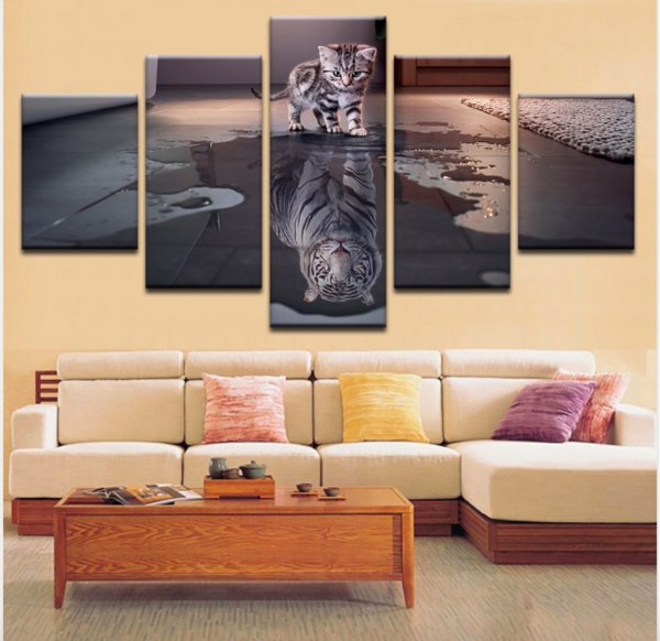 Art Wall Pictures HD Printed For Living Room Modern Cat and Tiger Canvas Prints Artwork New Year Animals Painting