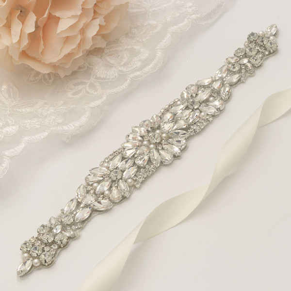 MissRDress Luxury Wedding Sashes Belt Silver Crystal Pearls Rhinestones Belt And Sashes Bridal And Bridesmails Dresses YS938