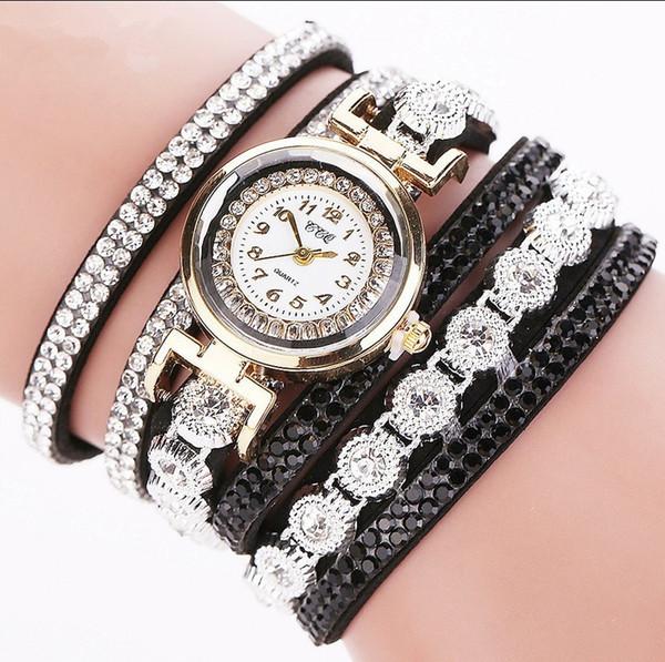 CCQ Luxus Frauen Gold Mode Strass Leder Handgelenk Damen Kleid Quarz-Uhr Lässige Perle Vintage Armband Uhren