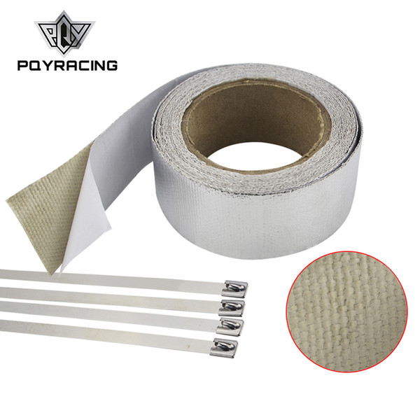 PQY RACING - Car Aluminum Reinforced Tape Adhesive Backed Heat Shield Resistant Wrap For Intake pipe WITH 4PCS TIES PQY1612