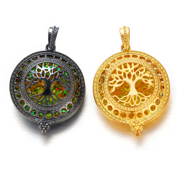 New Vintage Black Gold Tree of life Charms Jewelry Locket Opening Pendant DIY Necklace Findings Jewelry