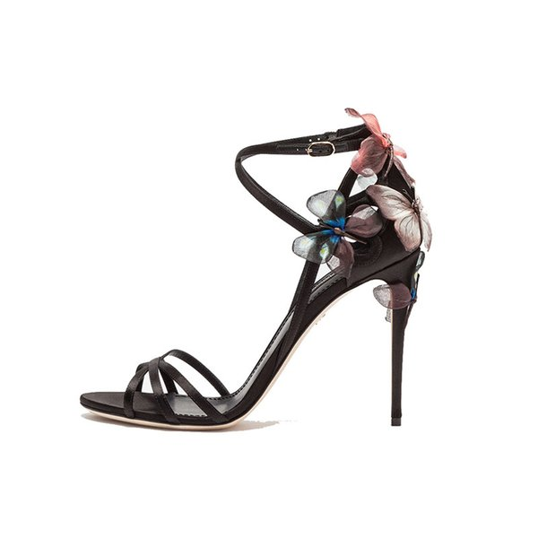 New Sexy Open Toe Silk Strappy Gladiator Sandals Women dreamy Butterfly High Heel Shoes Party Summer Shoes Sandalias mujer 2018