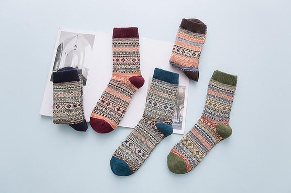2018 LNRRABC Kış Kalın Sıcak Şerit Yün Çorap Rahat Calcetines Hombre Çorap Iş Erkek kadın erkek Çorap