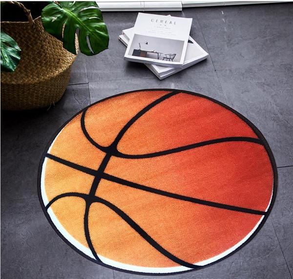 Acheter Anti Dérapage Basketball 3D Impression Forme Ronde Enfants Chambre  Lits Côtés Tapis Salon Tapis Porte Entrée Tapis De Sol Ordinateur Tapis ...