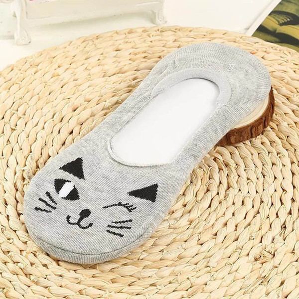 cute cat aninals pattern women slippers invisible no show nonslip liner low cut cotton boat socks