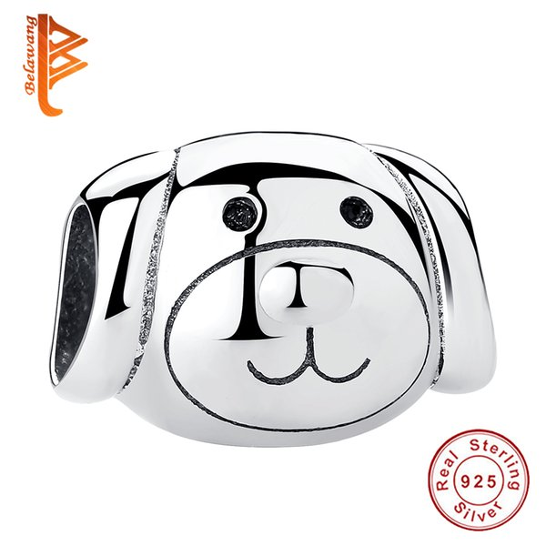 BELAWANG Genuine 925 Sterling Silver Lovely Dog Beads Charms Fit Pandora Bracelet For Women And Kids DIY Jewelry Anniversary Gift