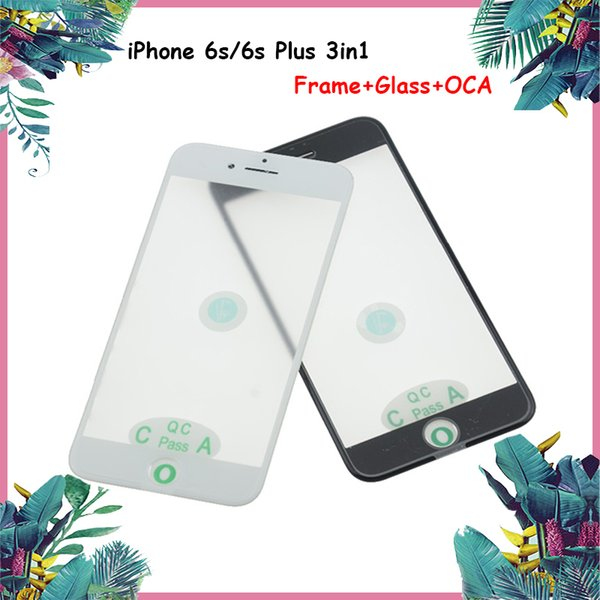 Front Outer Glass For iphone 6s 6s Plus Touch Screen Cold Press Middle Frame Bezel+ OCA Glass Lens Replacement Black & White Color