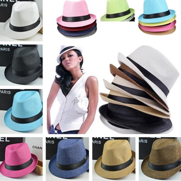 97ae4f2f0 2019 Fashion Men Women Casual Fedora Hat Pinched Crown Beach Sun Cap Panama  Hat Unisex Top Quality Straw Hats Stingy Brim Hats 0350 From Tina317, ...