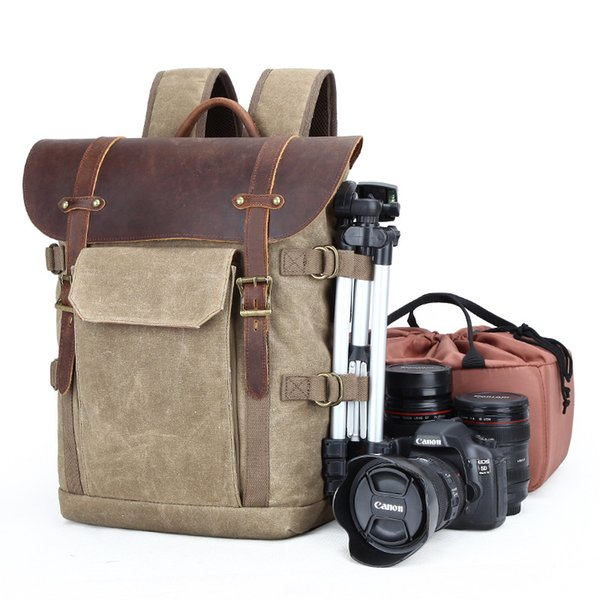 Canva d lr camera travel backpack waterproof canva profe ional camera bag leather canva camera bag removable in ert