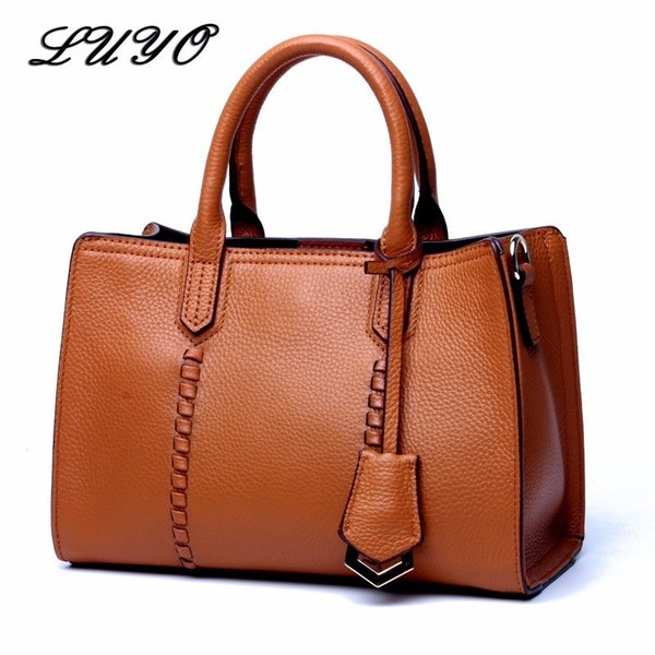 LUYO Vintage Natural Cowhide Genuine Leather Handbags Woman Shoulder Bag Female Top-handle Bags Bolsa Feminina Valise Brand Sac