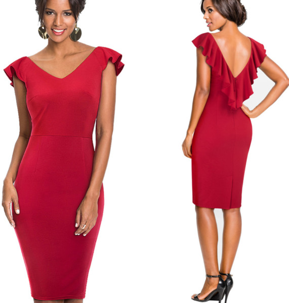 Party Bodycon Dress Black For Office Ladies Sexy Women Sleeveless Red Pencil Dresses Wear to Work Tight Fitting