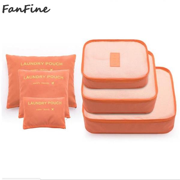 FanFine 6 pçs / set Moda Grande Capacidade de Zíper de Nylon À Prova D 'Água Mulheres Saco de Viagem Bagagem Organizador Embalagem Cubo Dos Homens sacos de Viagem
