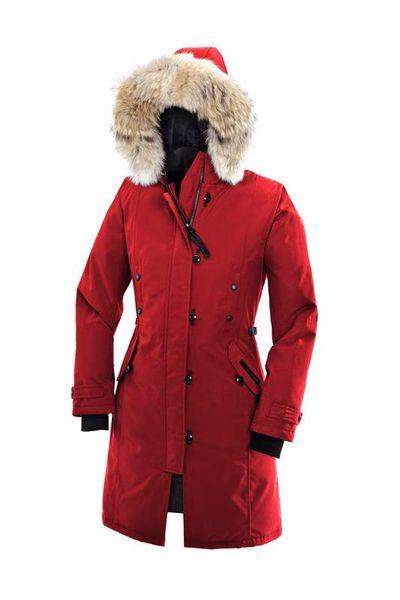 Goose Women's Kensington Parka Long Detachable Slim Down Jacket Breathable 90% White Goose Down Fashion Hooded Warm Jacket