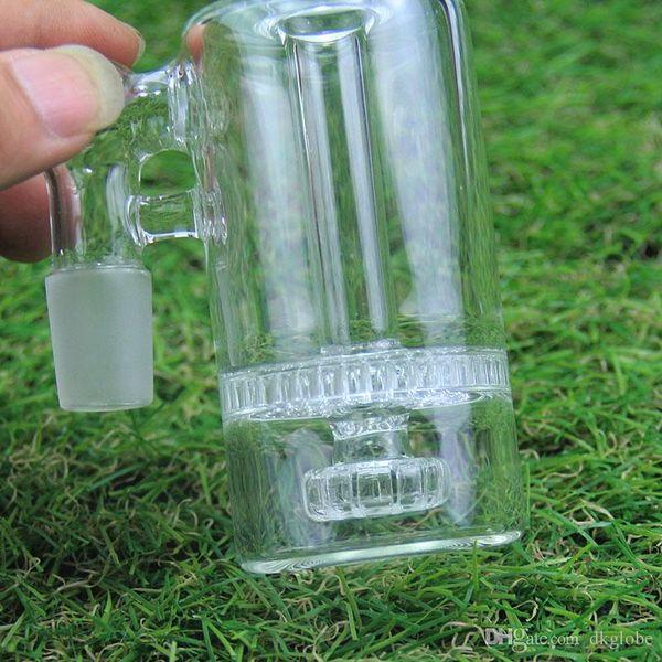 sest Nuovo design cenere di vetro robusto beccuccio di vetro con gomma perc honeycomb perc per bong di vetro 14mm, giunto 18mm