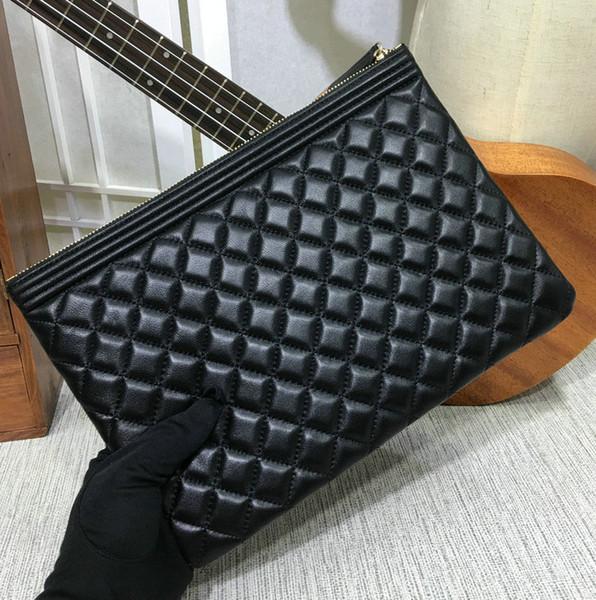 AAAAA famouse marke frauen aus echtem leder schwarz handtasche klassische elegante abendtaschen jungen stil silber / gold hw großen vulume reißverschluss