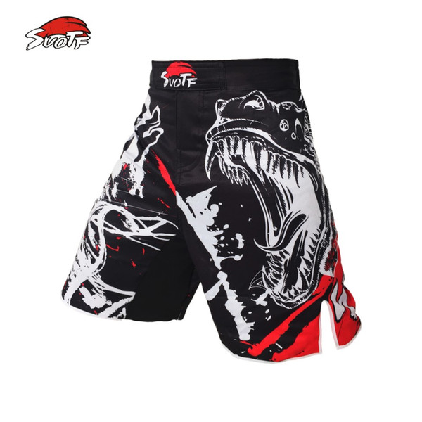 Suotf Black Ink Style Domineering Screaming Fight Mma Fitness Breathable Shorts Boxing Tiger Muay Thai Cheap Mma Shorts Boxeo