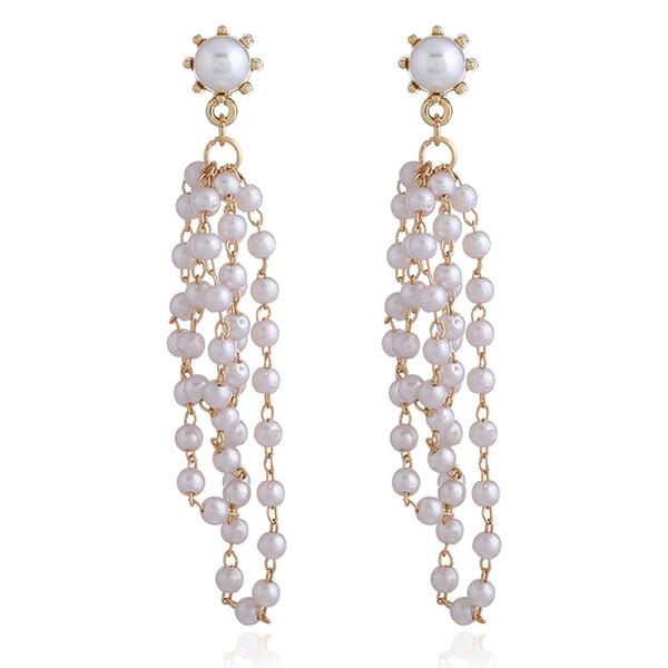 Pendientes de uva de la joyería de moda europeo americano Pendientes colgante Pendientes de perla largo de la moda de la personalidad