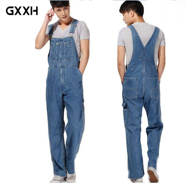 GXXH Hot 2018 Men's Plus Size Overalls Large Size Huge Denim Bib Pants Fashion Pocket Jumpsuits Male Free Shipping Brand