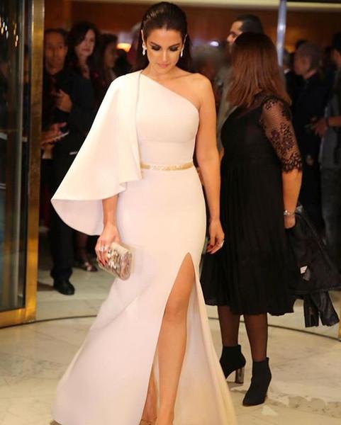White Sheath Formal Dress for Women One Shoulder Kaftan Evening Dresses High Leg Slit Evening Party Dresses Backless Prom Gowns