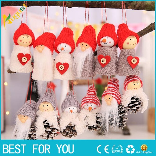 New Hot Babbo Natale Ornamenti da appendere a Natale Pigna Regalo di bambola di Natale 3Pz / Set Decorazioni natalizie con ciondolo albero per la casa