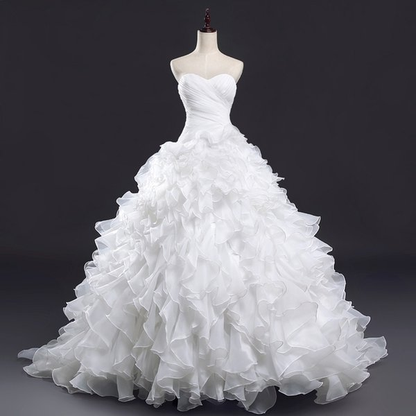 Sexy Strapless Vintage Lace Up Ruffles Ball Gown Wedding Dresses Real Photo Customize Made Ball Wedding Gowns Organza