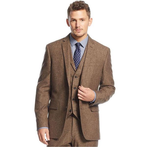 Nueva llegada de dos botones marrón claro esmoquin novio muesca solapa padrinos de boda para hombre de negocios trajes de fiesta (chaqueta + pantalones + chaleco) 332