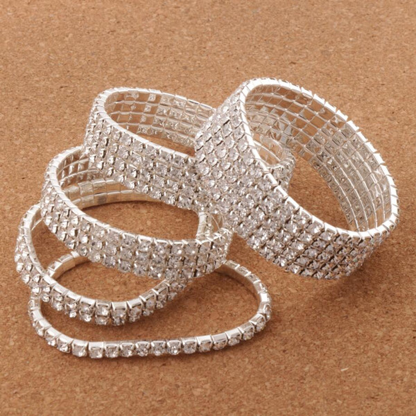 """12pcs/lot Clear Spring 2"""" Crystal Rhinestone Bracelets Tennis Silver Plated 2-Rows -10Row Hot sell Items Fashion Jewelry"""
