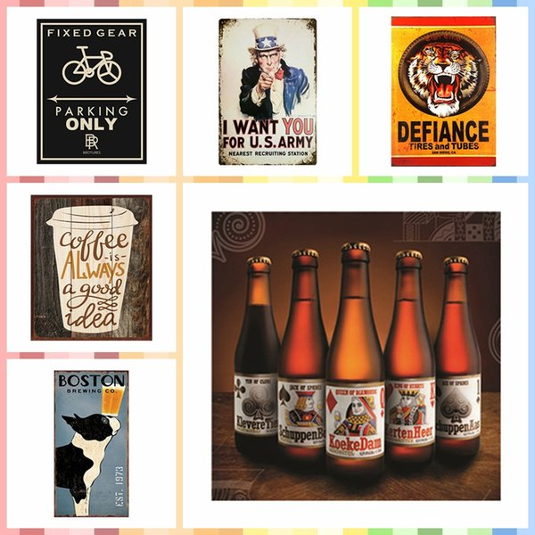 POKER BEER Multi Size Luxury Home Decor Wall Poster Metal Tin Signs Bedroom Wall Decorations Crafts Art Painting Supplies