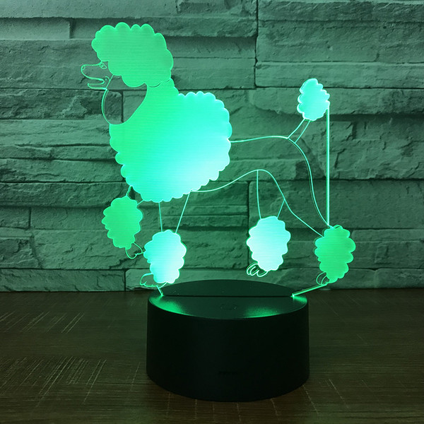 Lovely Dog Puppy 3D Illusion light Lamp 5th Battery Bin USB Powered 7 RGB Light DC 5V Wholesale Free Shipping