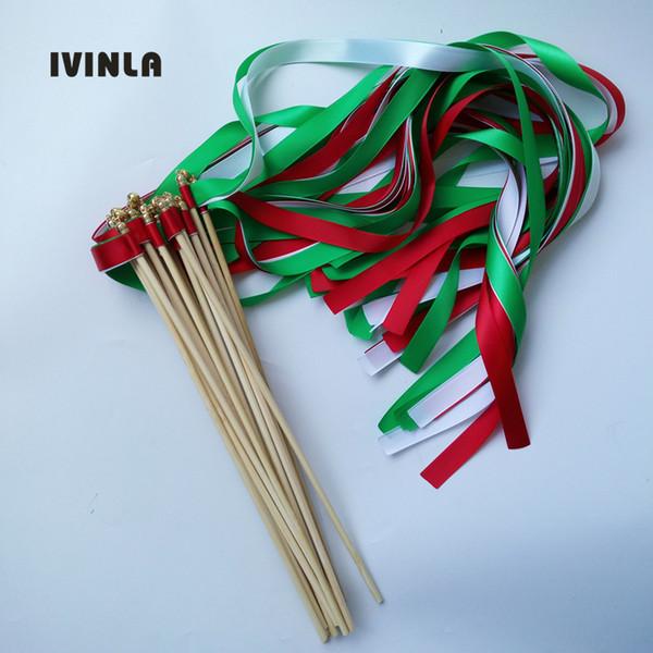 Sıcak satış 50 adet / grup Kırmızı Yeşil Beyaz düğün kurdele altın çan ile düğün dekorasyon için wands