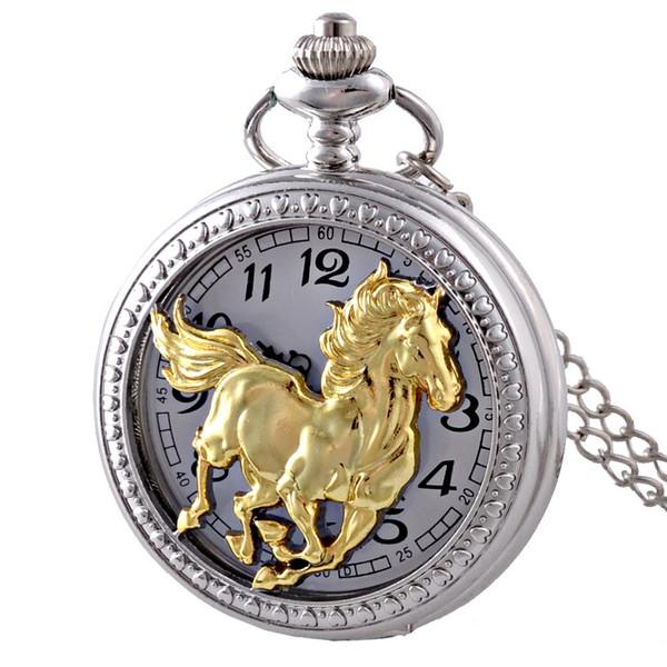 Novas Prata Cavalo oco quartzo relógio de bolso Presente Colar Pingente Vintage Homens Mulheres
