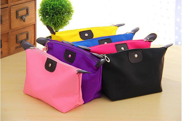 27*12*7 cm Candy color folding cosmetic bags waterproof storage wash bag zipper simple handbag for 10 different colors
